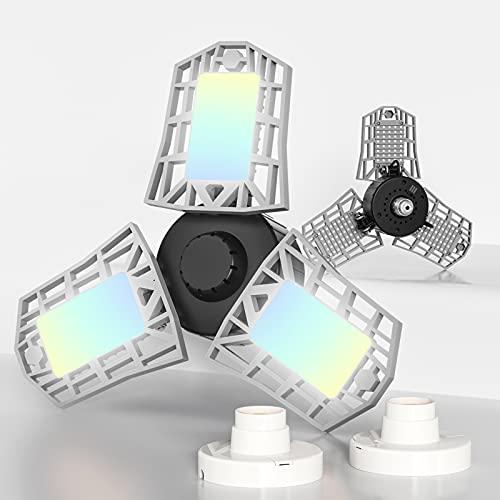 2-Pack 3CCT LED Garage Light with 3 Deformable Panels, 60W 6000LM with E26/27 Medium Base, 3000K/4000K/6000K Selectable Triple LED Garage Lighting, Screw in LED Tri Light for Attic, Basement(Silver)