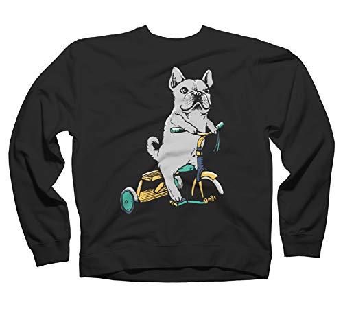 Design By Humans Frenchie Ride Black Graphic Crew Neck Sweatshirt S