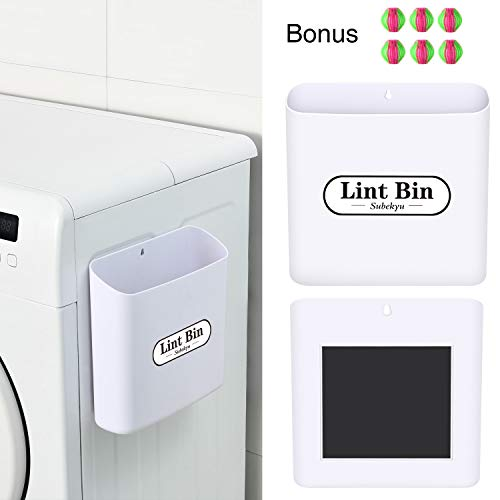 SUBEKYU Magnetic Lint Bin for Laundry Room Small Waste Bin or Laundry Storage Container for Hanging on Dryer/Washer/Wall 085 Gallon White