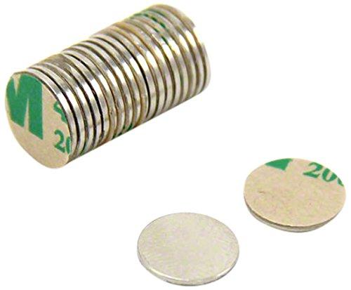 First4magnets SP095075NA-20 Selbstklebende 9,5 x 0,75 mm dicken N35 Neodym-Magneten - Nord zeigen (Packung mit 20), silver, 25 x 10 x 3 cm, Stück