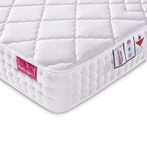 DOSLEEPS Double Mattress 4FT6 9-Zone Pocket Sprung Mattress with Memory Foam and...