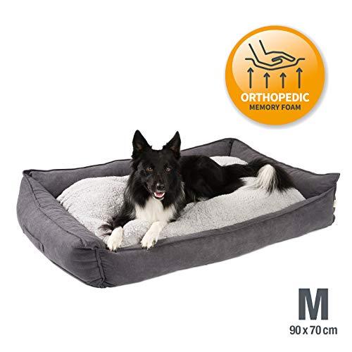 JAMAXX Premium Hundebett Orthopädisch Memory Visco Schaum Waschbar Wendekissen Wasserabweisend/Hundekörbchen Weicher Samtartiger Sofa Stoff Hundekissen Hundekorb PDB2002 (90x70 (M), grau)
