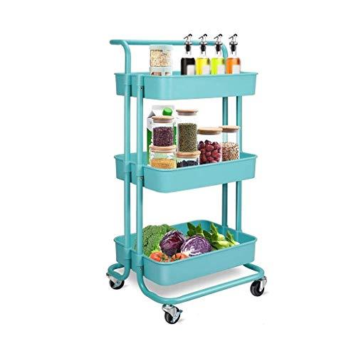 GFL Carro de Almacenamiento con 3 Niveles, Carro de Cocina con Ruedas, Asa Desmontable, para Cocina, Baño, Oficina (Color : Blue)
