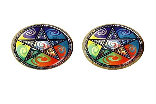 Astrología Pentagrama Art - Pendientes de cristal para hombre y mujer