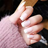 Handcess 24pcs uñas postizas francesas desnudas blancas prensa cuadrada corta en uñas uñas falsas cubierta completa uñas arte para mujeres