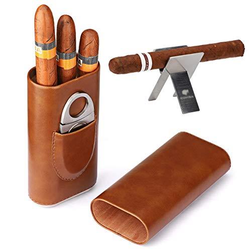 Time C club 3 Paquets 3 Compte Boîtes à cigares humidor en cèdre avec Coupe Pliable Cigare en Acier Inoxydable en Argent (Couleur)