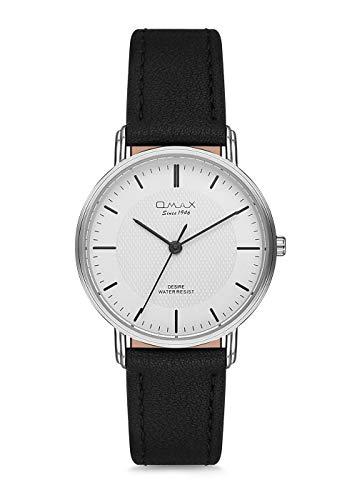 Omax Men's Wristwatch White Case Black Leather Strap Japan Movement DX44P32I