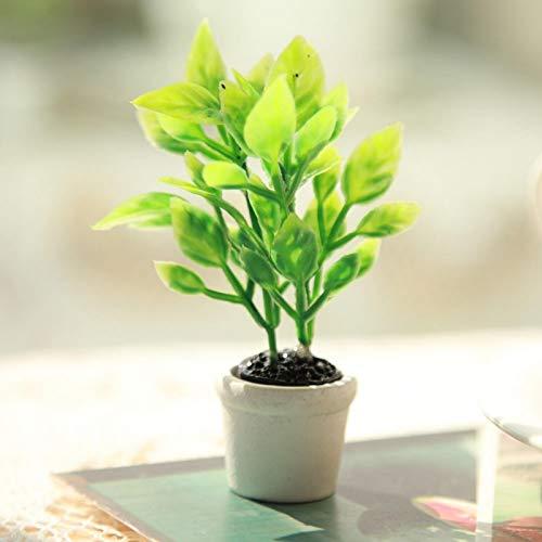 Okuyonic Fausse Plante en Pot Verte Belle Plante Artificielle réaliste pour la Collection de Maison de poupée pour Noël