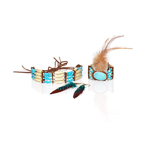 Kostümplanet Indianer Schmuckset Damen Halskette Armband Ohrringe