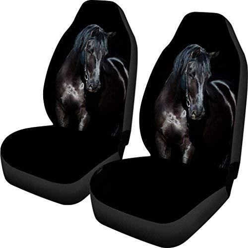 POLERO Universal 2 Stück Vordersitzbezüge für Autositzschoner, Auto-Innenzubehör, Auto-Sitzbezug, Pferd, schwarz
