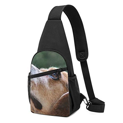 Mochila de hombro ligera con estampado de ojos de perro, mochila de hombro para viajes, senderismo, bolsa de hombro cruzada, color Negro, talla Talla única
