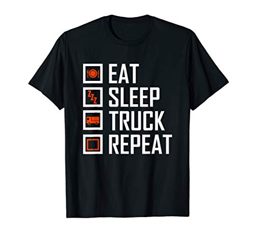 Trucker T Shirts For Men - Eat Sleep Truck Repeat! T-Shirt