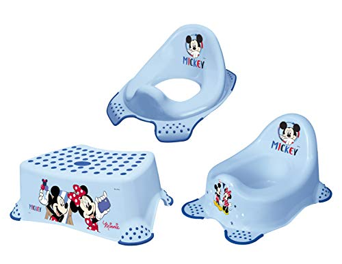 3 set disney mickey mouse vasino + wc cap sgabello nuovo
