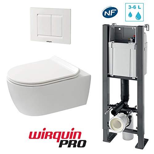Pack complet WC suspendu sans bride COMPACT : Bâti-support + Cuvette sans bride + Abattant + Plaque Essentiel blanc 3/6 L