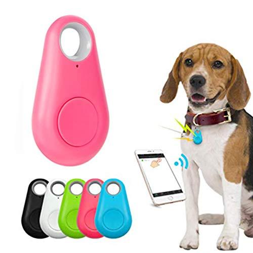 Pet Smart GPS Tracker Mini Anti-Lost Waterproof Bluetooth Locator Tracer for Pet Dog Cat Kids Car Wallet Key Collar Accessories (Pink)