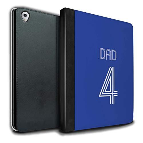 Personalisiert Individuell Fußball Vereine Trikots Kit PU-Leder Hülle für Apple iPad Pro 9.7 / Blau Weiss Design/Initiale/Name/Text Tablet Schutzhülle/Tasche/Etui