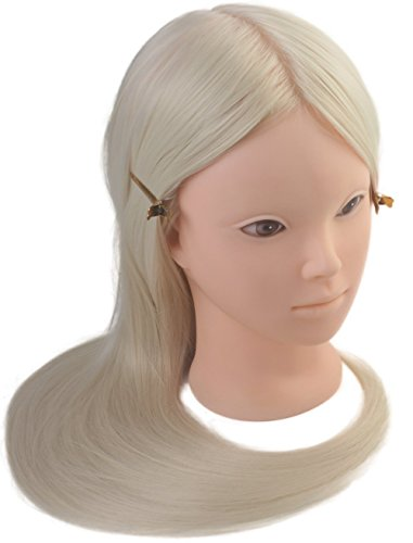 24 Cosmetology Mannequin Heads Training High Temperature Synthetic Fiber Makeup Practice Mannequin Head Blonde Hair Color by Perfehair