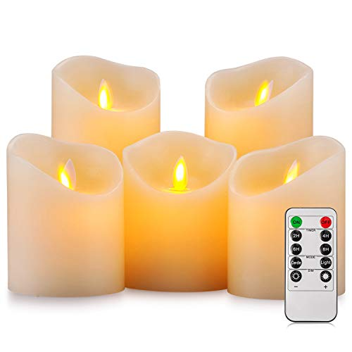 Aku Tonpa Flameless Candles Battery Operated Pillar Real Wax Flickering Moving Wick Electric LED Candle Set with Remote Control Cycling 24 Hours Timer, Pack of 5