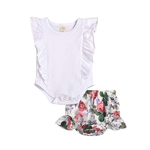 Julhold Zomer Pasgeboren Kids Baby Meisjes Vrije tijd Outfits Kleding Romper Bodysuit+Flower Print Shorts Set 0-2 Jaar