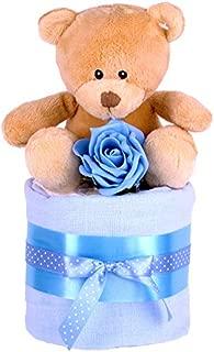 Set de regalo para darle la bienvenida al bebé de Pure Nappy Cakes, cesta azul