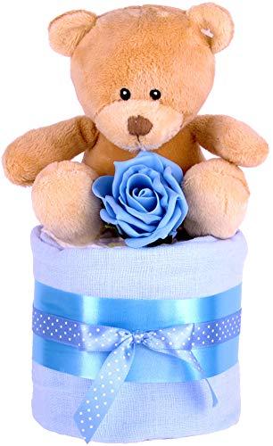 Baby Jungen MINI STAR Windeltorte, Baby Dusche Geschenk, Blau Baby-Geschenkkorb–Schnell & kostenlose Lieferung.