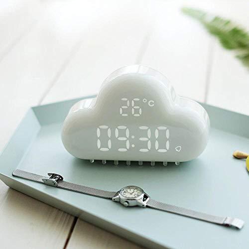 Alarm clock Cloud LED Veilleuse De Charge Veilleuse Électronique Mute Intelligent Étudiant Multifonction Numérique Horloge Créative Pink