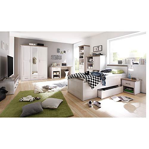 Lomadox Jugendzimmer Komplett Set 7-TLG, Landhausstil, Pinie weiß Nb./Trüffel Eiche Nb.