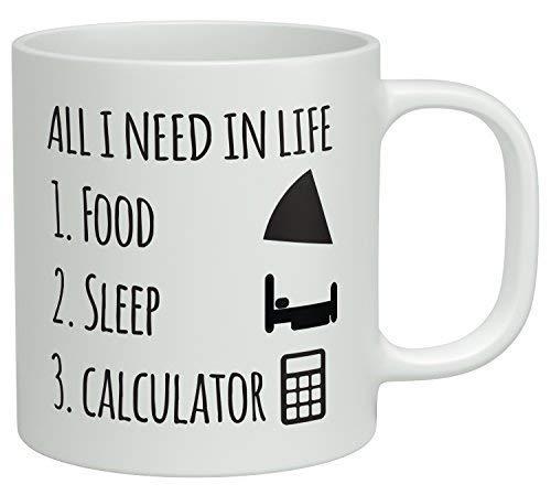 Sterke Stabiliteit Duurzame Koffiemok Grappige Koffiemok - Alles wat ik nodig heb in het leven is Voedsel Slaap en Mijn Calculator Koffiemokken Nieuwigheid Wit Keramische Koffiebeker, Kerst Mokken, Mokken voor Mama, voor Papa, X