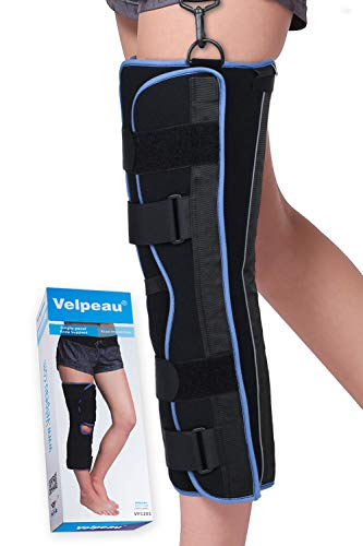 VELPEAU Tri-Panel Knee Immobilizer Brace - 16' Long - Straight Leg Immobilizer - Knee Splint - Comfort Rigid Support for Post-Surgery Recovery (Small)