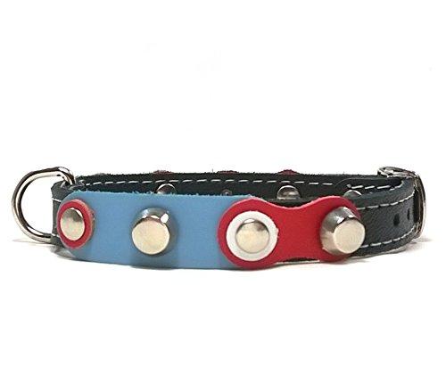 Superpipapo Handmade Leder Hunde-Halsband für Welpen, Chihuahuas und Kleine Hunde, Ausgefallen Rot Weiß Blau mit Schönen Nieten, 25 cm XXXS: Halsumfang 15-20 cm, Breit 13mm