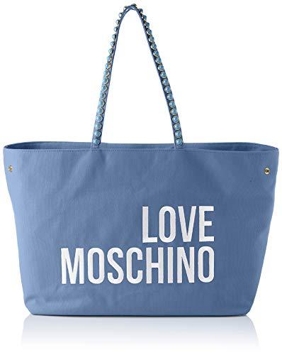 Love Moschino Precollezione SS21   Borsa Shopper in Canvas da Donna, Bolsos de Hombro Mujer Colección Primavera Verano 2021, azul claro, Normal