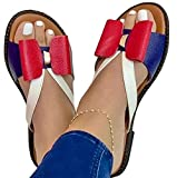 WODETIAN Sandali Donna Zeppa Aperta Sandali Comodi Sandali Piatti Eleganti Roman Estivi Sandali Sandali da Spiaggia Antiscivolo Traspiranti Ciabatta Pantofole,Rosso,35