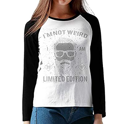 FashionWomen's Print I Am Not Weird I Am Limted Edition Cotton Graphic Long Sleeve Baseball T-Shirts XL Black from Onesunc