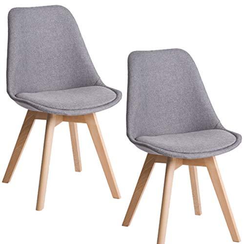 Deuline® 2X Esszimmerstühle Esszimmerstuhl Küchenstuhl SGS Zertifiziert Massivholz Beine Polsterstuhl Retro Design Stühle Lehnstuhl Oslo Grau - Stoffbezug 521206