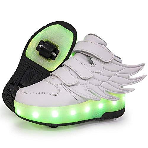 TTW Zapatos con Ruedas Luminosas LED para niños Zapatos de Patinaje sobre Ruedas con Carga USB Zapatillas de Skate con Ruedas Dobles retráctiles Zapatillas Deportivas para niños niñas,Blanco,37