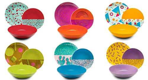 Excelsa Radical Servizio Piatti 18 Pezzi, Porcellana e Ceramica, Multicolore