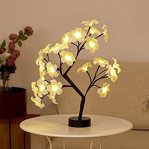 WXYI Lámpara de árbol de rosas de mesa, luz de noche, lámpara de árbol de luz de hadas, 24 luces LED para sala de estar, dormitorio, color negro, Plumeria