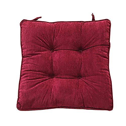erddcbb Almohadillas Acolchadas para sillas, Paquete de 4 Cojines Gruesos para sillas de Comedor, Tatami, Cojines para Asientos de jardín, Color sólido, Cuadrado, Almohadilla Antideslizante, Vino ti