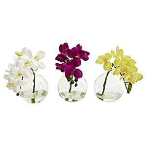 "Nearly Natural Artificial (Set of 3) 9"" Phalaenopsis Orchid Arrangement in Vase, Multi/Color, 3 Piece"