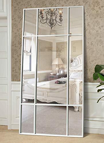Espejo de Cuerpo Entero Rectangular Blanco [220 x 110 x 3cm] | Diseño danés | Espejo Grande y Largo de pie | Vertical y Horizontal