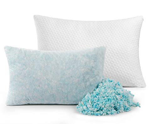 TEKAMON Shredded Memory Foam Pillow with Washable Removable Cover,Hypoallergenic Firm Bed Pillow for Back and Side Sleeper (White Queen 1 Pack)
