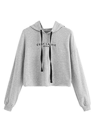 Romwe Women's Letter Print Sweatshirt Raw Hem Drawstring Crop Top Hoodie Grey Large