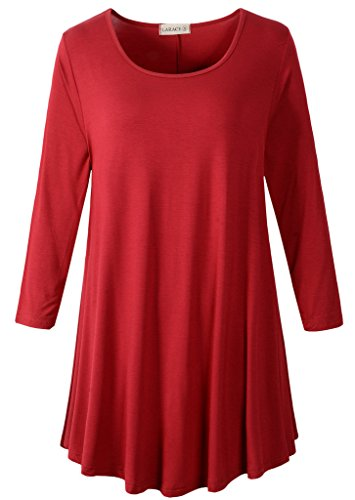 LARACE Women 3/4 Sleeve Tunic Top Loose Fit Flare T-Shirt(1X, Wine Red)