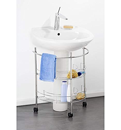 WELLGRO® Waschbecken Unterregal - 55 x 35 x 64,5 cm (BxTxH), Handtuchstange, 3 leichtgängige Rollen mit Sperre, Silber Farben