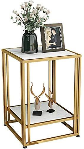 LYHY Nest of Tables White Couchtisch Beistelltische Nordic Marble Side Square Corner 2tier Metall Schmiedeeisen Wohnzimmer Sofa Kaffee, Keine Montage erforderlich, Gold, 45 & mal; 45 & mal; 56cm