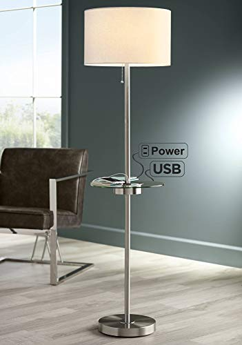 Caper Modern Floor Lamp with USB and AC Power Outlet on Table Glass Satin Steel White Fabric Drum Shade for Living Room - 360 Lighting
