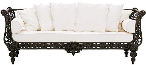 Casa Padrino sofá Barroco de Lujo marrón Oscuro/Blanco 212 x 87 x A. 77 cm - Sofá de Hierro Forjado Forjado a Mano con Cojines - Sofá de Salón - Sofá de Jardín - Sofá de Patio - Muebles Barrocos