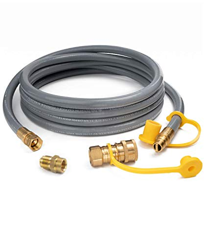 "GASPRO 12 Feet 1/2 ID Natural Gas Hose,Quick Connect Disconnect with 3/8"" Female by 1/2"" Male for Outdoor NG/Propane Appliance Connectors Grill Hoses"
