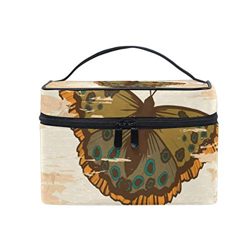 Vintage Retro Butterfly Cosmetic Bag Toiletry Travel Makeup Case Handle Pouch Multi-Function Organizer for Women-E2