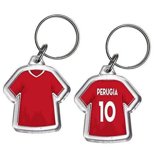 URBANZONE Portachiavi Mini T-Shirt Squadra Calcio Serie Serie B Portachiave Gadget in Plexiglass Personalizzato con Nome E Numero Idea Regalo Casa Auto (Perugia)